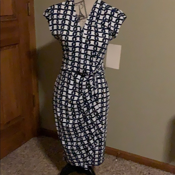 Boston Proper Dresses & Skirts - NWT Boston Proper wrap dress; navy/white; 4